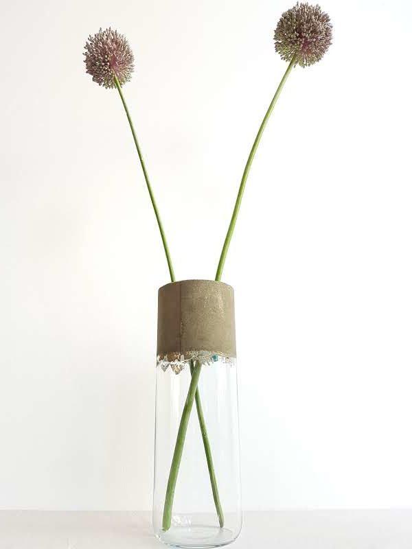Vase Verre et Béton Transparent
