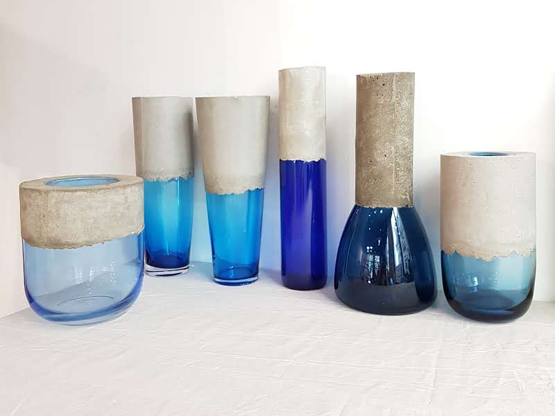 Vases Vert et Béton Bleus