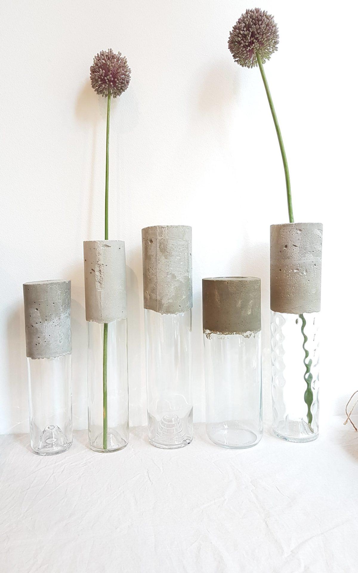 Vases Verre et Béton Transparents