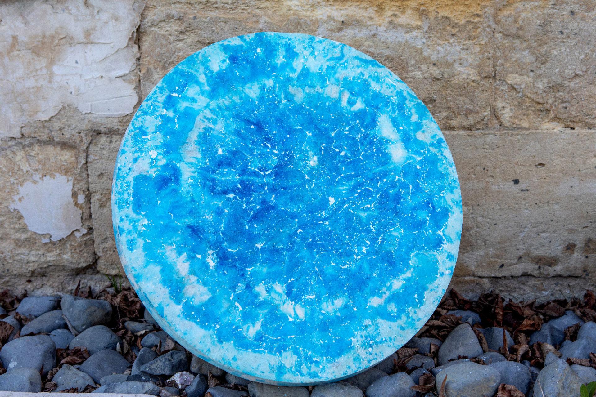 Plateau de Table Stuc Marbre Turquoise
