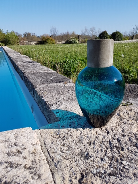 Vase Verre et Béton Bleu